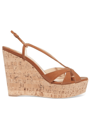 Christian Louboutin - Lady Wedgy 120 Leather Wedge Sandals - Tan