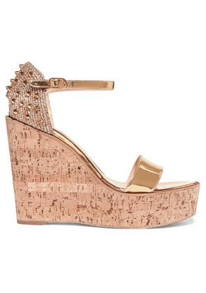 Christian Louboutin - Bellamonica 120 Spiked Metallic Jute And Leather Wedge Sandals - Gold
