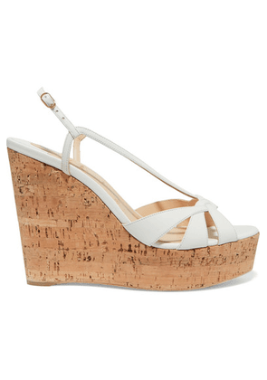 Christian Louboutin - Lady Wedgy 120 Leather Wedge Sandals - White