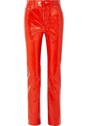 Helmut Lang - Patent-leather Straight-leg Pants - Red