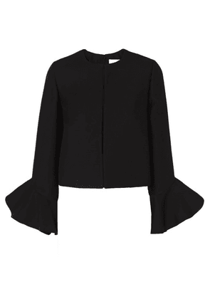 Valentino - Ruffled Wool And Silk-blend Jacket - Black