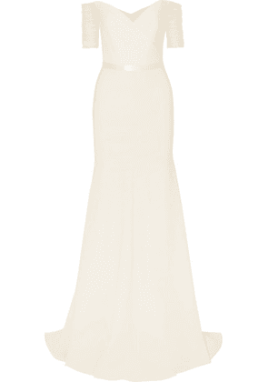 Jenny Packham - Venus Off-the-shoulder Tulle And Cady Gown - Ivory