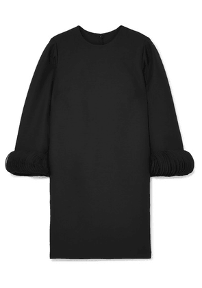 Valentino - Silk Satin-trimmed Wool And Silk-blend Mini Dress - Black