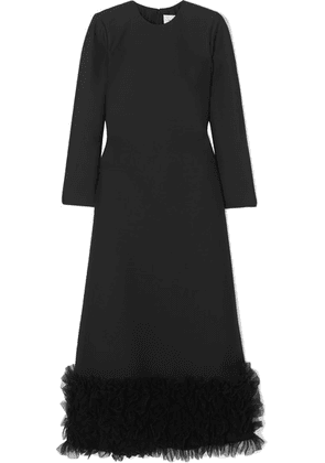 Valentino - Tulle-trimmed Wool And Silk-blend Crepe Gown - Black