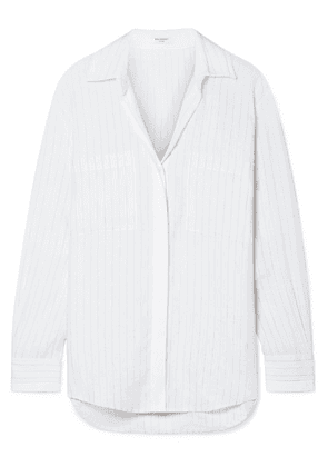 Equipment - Aceline Pinstriped Linen Shirt - White