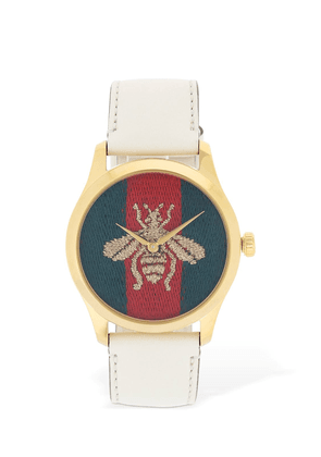 Embroidered Bee Leather Watch