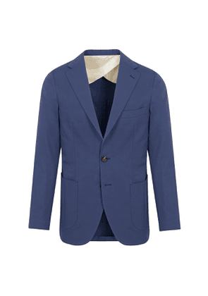Blue Cotton Single Breasted Suit