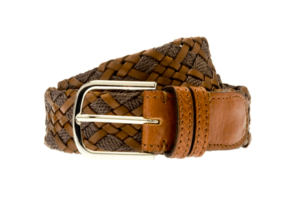 Tan Woven Rope and Leather Belt