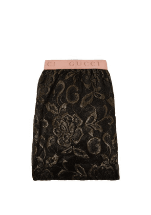 Gucci - Logo Brocade Lace Tights - Womens - Gold