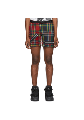 99% IS Red Check Zip Shorts