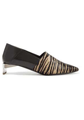 Loewe - Tiger-print Calf Hair And Leather Collapsible-heel Pumps - Sand