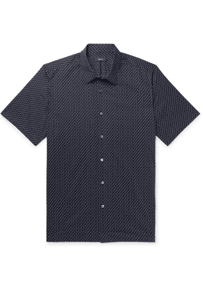 Theory - Irving Printed Cotton-poplin Shirt - Midnight blue