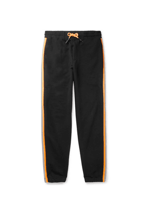 McQ Alexander McQueen - Contrast-trimmed Loopback Cotton-blend Jersey Sweatpants - Black
