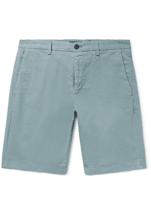 Theory - Zaine Slim-fit Garment-dyed Stretch-cotton Twill Shorts - Gray green