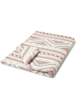 Faherty - Organic Cotton-flannel Jacquard Blanket - Off-white