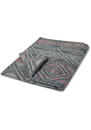 Faherty - Organic Cotton-flannel Jacquard Blanket - Anthracite