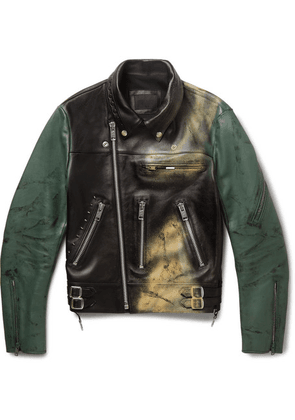 99%IS- - Spray-painted Leather Biker Jacket - Black