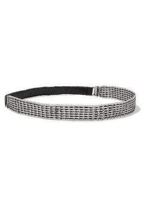 SAINT LAURENT - Chainmail And Faux Leather Headband - Silver