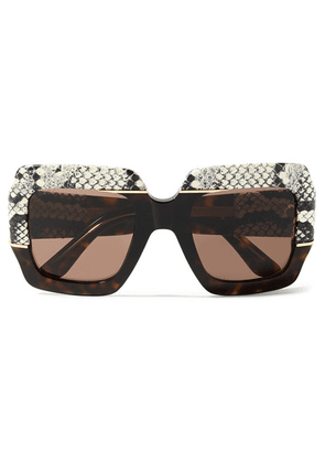Gucci - Oversized Square-frame Watersnake-trimmed Tortoiseshell Acetate Sunglasses - Brown