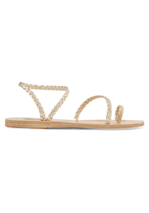Ancient Greek Sandals - Eleftheria Braided Metallic Leather Sandals - Gold