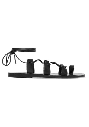 Ancient Greek Sandals - Alcyone Lace-up Leather Sandals - Black