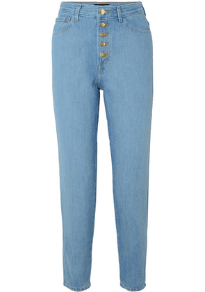 J Brand - Heather Cropped High-rise Straight-leg Jeans - Blue