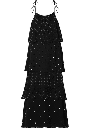 Anine Bing - Daisy Tiered Polka-dot Chiffon Maxi Dress - Black