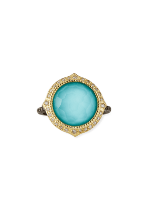 Old World Pointed Turquoise/Quart Ring w/ Diamonds, Size 6.5