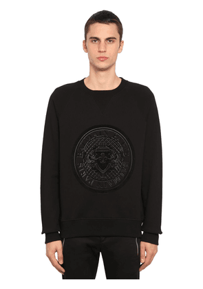Flocked Coin Cotton Jersey Sweatshirt