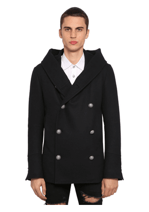 Hooded Double Breasted Wool Peacoat