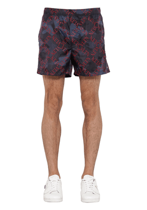 Greed Camo Print Nylon Swim Shorts
