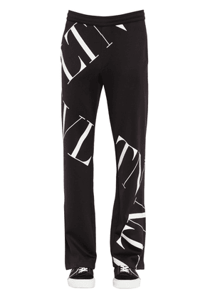 Printed Cotton Blend Jersey Track Pants