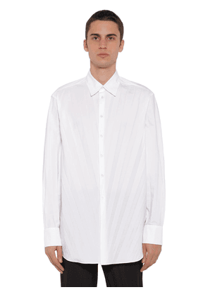 Oversized Pleat Tech Cotton Poplin Shirt