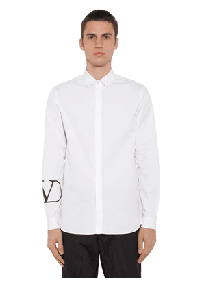Vlogo Print Cotton Poplin Shirt