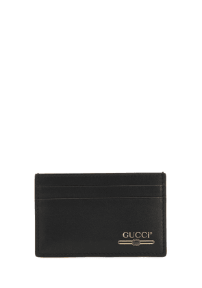 Gold Logo Printed Leather Card Holder