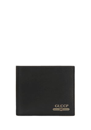 Gold Logo Print Leather Wallet