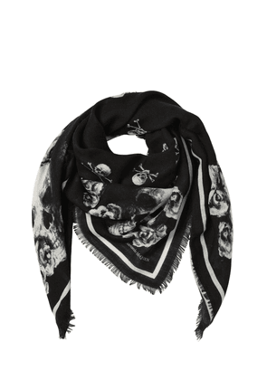 Skull And Roses Silk & Wool Scarf
