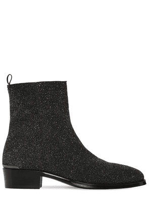 40mm Glittered Leather Cuban Boots