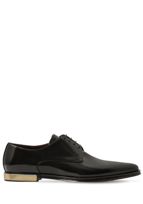 Leather Lace-up Shoes W/ Studded Trim