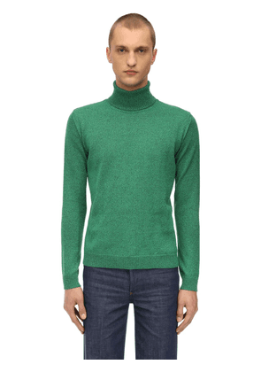 Lurex Cable Knit Turtleneck Sweater