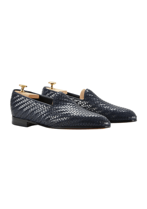 Blue Woven Leather Rimbaud Loafers