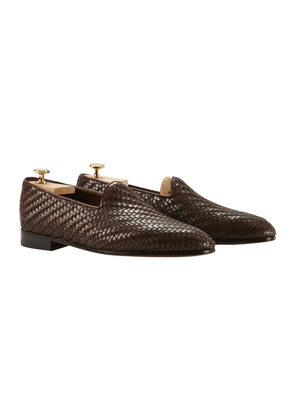 Brown Woven Leather Rimaud Loafers