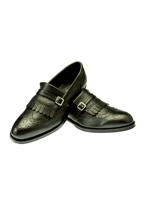 Black Leather Single Monk Fringed Folco Oxfords