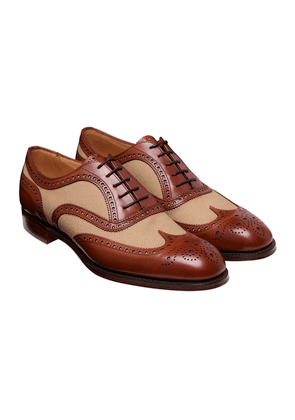 Brown Leather and Sand Canvas Edwin Brogues
