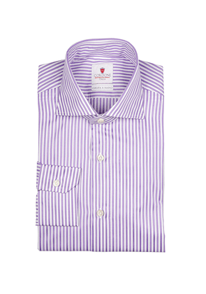 Lilac and White Bold Stripe Cotton Shirt