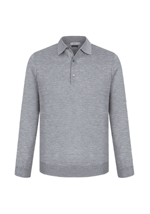 Grey Cashmere and Silk Polo Shirt