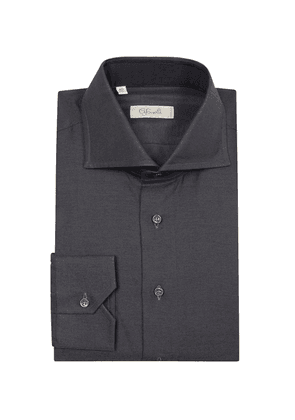 Charcoal Cotton Spread Collar Shirt