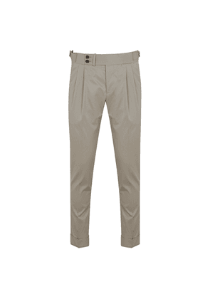 Grey Cotton Double Pleat Trousers
