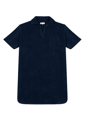 Marine Blue Terry Cloth Short-Sleeve Polo Shirt