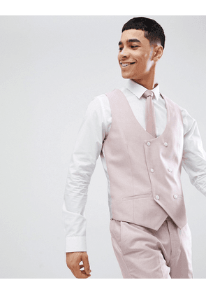 River Island Oxford Suit Waistcoat In Pink
